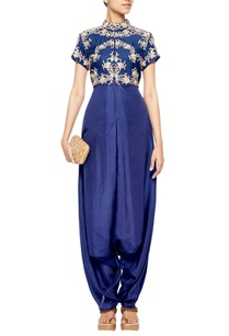 navy-blue-dhoti-jumpsuit-with-gold-embroidered-bolero