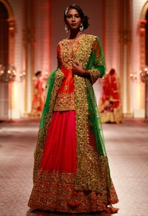 orange-embroidered-kurta-with-pink-lehenga-green-dupatta