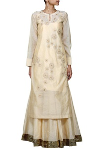 beige-shaded-floral-embroidered-long-kurta-with-skirt-stole