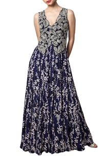 navy-blue-printed-anarkali-with-embroidered-jacket