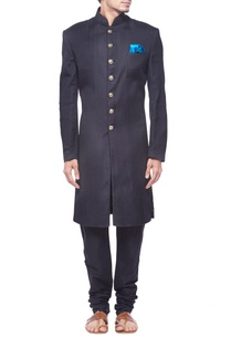 black-pintuck-sherwani