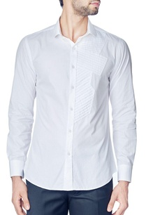 white-one-side-pleated-shirt