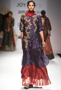 indigo-embroidered-layered-kurta-with-maroon-skirt