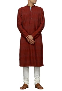 wine-viscose-and-polyester-blend-kurta