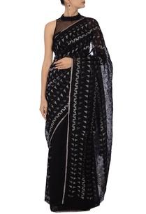 black-ivory-jamdani-linen-sari