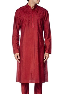 maroon-cotton-silk-embroidered-kurta-set