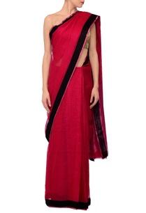 raani-pink-black-linen-sari