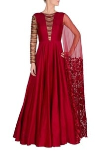 marsala-embellished-anarkali-with-attached-drape