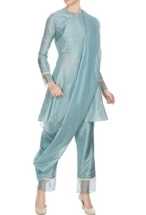 teal-blue-silk-organza-kardhana-work-short-anarkali-set