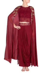 marsala-embroidered-cape-blouse-with-palazzos