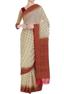 khadi-pure-georgette-paisley-saree-blouse