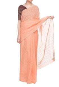peach-handwoven-linen-sari