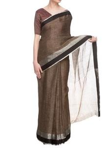 brown-linen-handwoven-sari