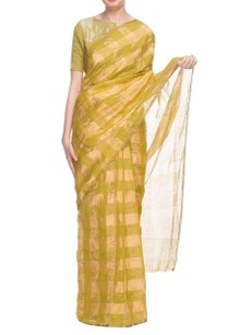 olive-green-gold-silk-handwoven-sari