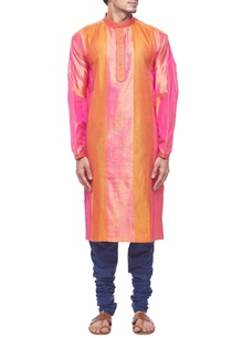 pink-orange-panel-silk-kurta