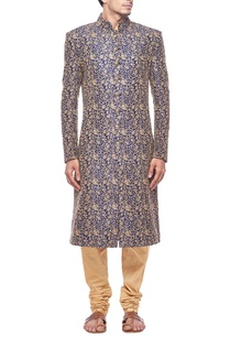 deep-teal-and-gold-floral-embroidered-sherwani