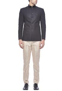 black-linen-bandhgala-with-velvet-collar