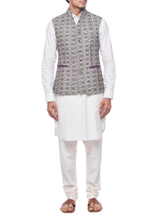 black-and-white-motif-nehru-jacket