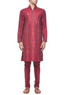 deep-red-tonal-embroidered-kurta-set