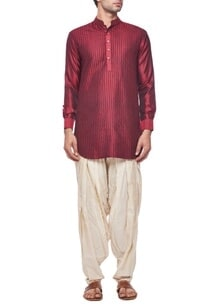 deep-red-silk-short-kurta