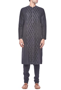 black-pintuck-kurta-set
