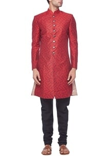 red-printed-sherwani