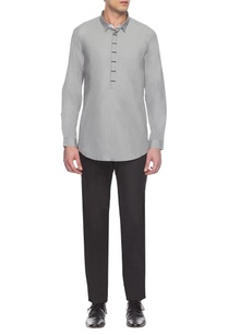 grey-placket-detailed-short-kurta