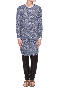 blue-white-tribal-print-button-up-kurta