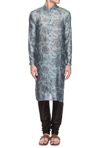 powder-blue-grey-floral-printed-kurta