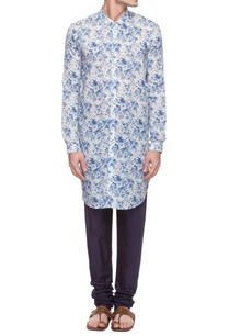 white-blue-floral-high-low-kurta