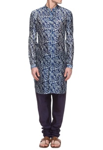 navy-blue-white-batik-printed-kurta