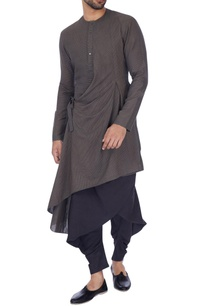 grey-solid-draped-kurta