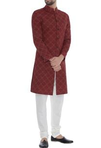 red-handloom-silk-kantha-chequered-achkan