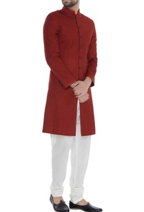 red-solid-handloom-silk-achkan
