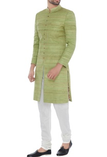mint-green-solid-handloom-silk-achkan-with-printed-lining