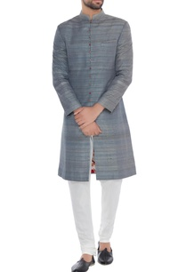 grey-solid-handloom-silk-achkan-with-printed-lining