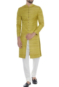 lime-green-solid-handloom-silk-achkan-with-printed-lining