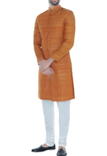 orange-solid-handloom-silk-achkan-with-printed-lining