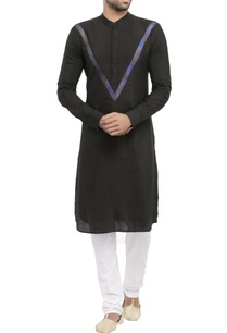black-cotton-jacquard-worli-print-kurta