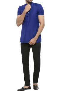 navy-blue-cotton-silk-solid-short-kurta