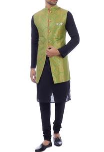 lime-green-brocade-nehru-jacket