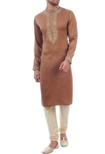 brown-jacquard-silk-kurta-set