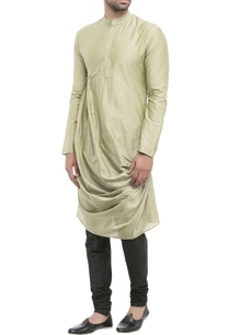 olive-cotton-silk-draped-kurta