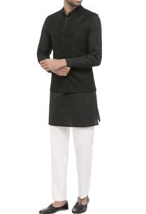 black-white-raw-silk-kurta-with-trousers-and-nehru-jacket