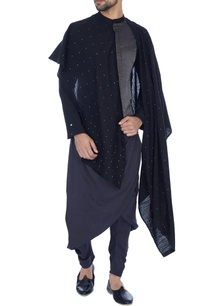black-grey-embellished-draped-kurta