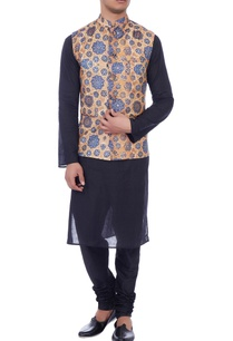 beige-blue-silk-nehru-jacket