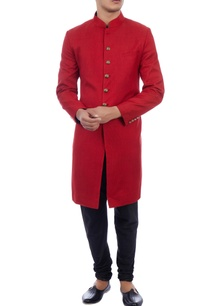 red-lightweight-wool-sherwani