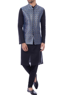 blue-brocade-geometric-nehru-jacket