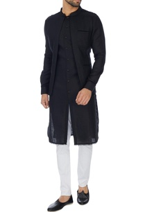 black-jacket-layer-linen-kurta