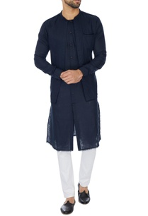 navy-blue-double-layer-linen-kurta